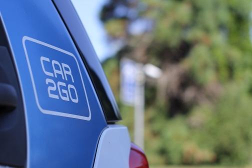 car2go-Logo an einem Elektrosmart.