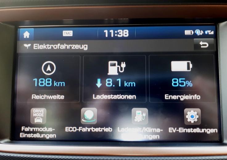 Hyundai Ioniq Elektro - Das EV-Menü